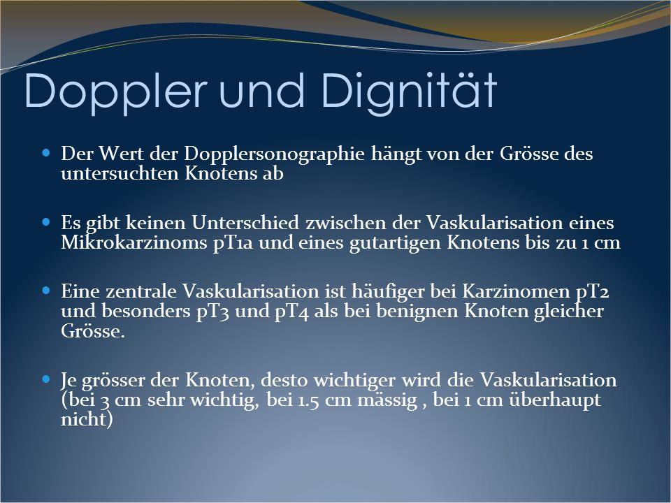 Doppler und Dignität Der Wert der Dopplersonographie hängt von der Grösse des untersuchten Knotens ab Es gibt keinen Unterschied zwischen der Vaskular