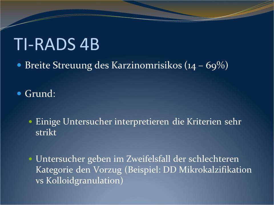 TI-RADS 4B Breite Streuung des Karzinomrisikos (14 – 69%) Grund: Einige Untersucher interpretieren die Kriterien sehr strikt Untersucher geben im Zwei