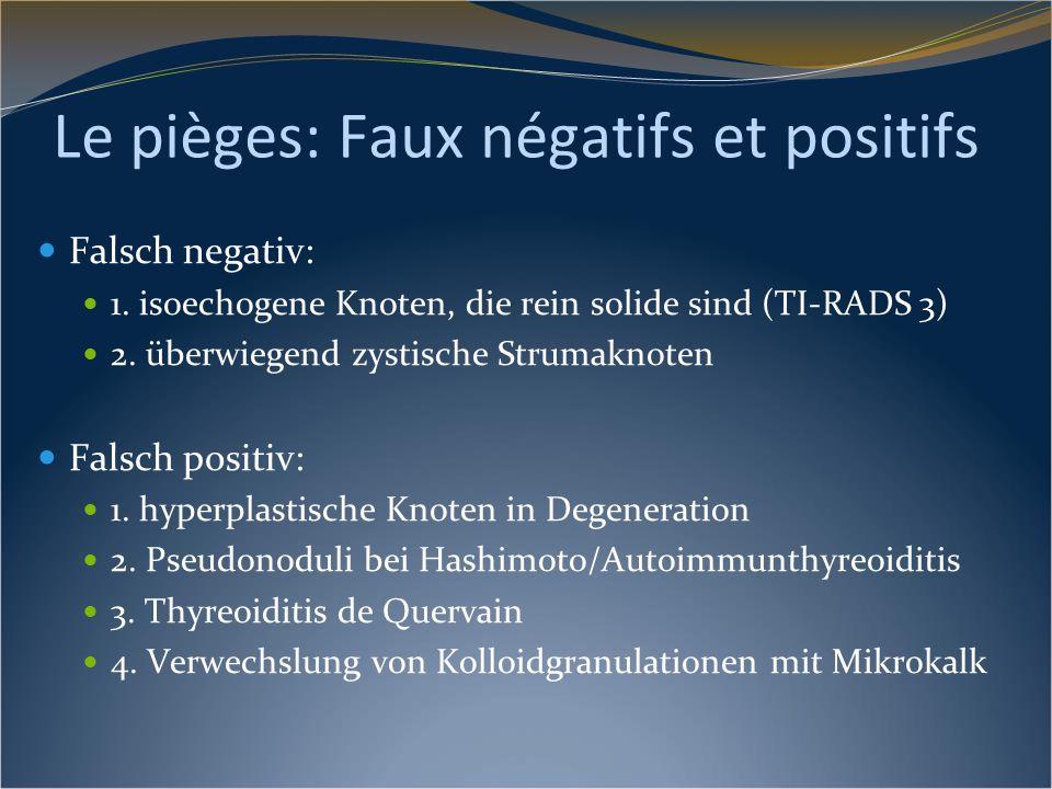 Le pièges: Faux négatifs et positifs Falsch negativ: 1. isoechogene Knoten, die rein solide sind (TI-RADS 3) 2. überwiegend zystische Strumaknoten Fal
