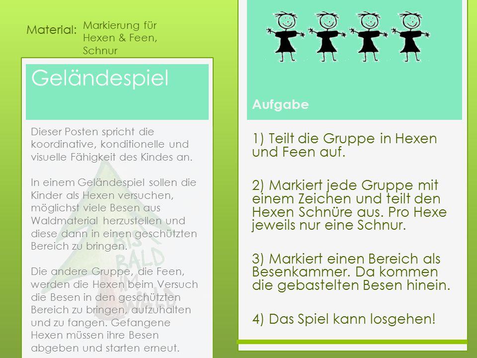 Aufgabe Material: Geländespiel 1) Teilt die Gruppe in Hexen und Feen auf. 2) Markiert jede Gruppe mit einem Zeichen und teilt den Hexen Schnüre aus. P