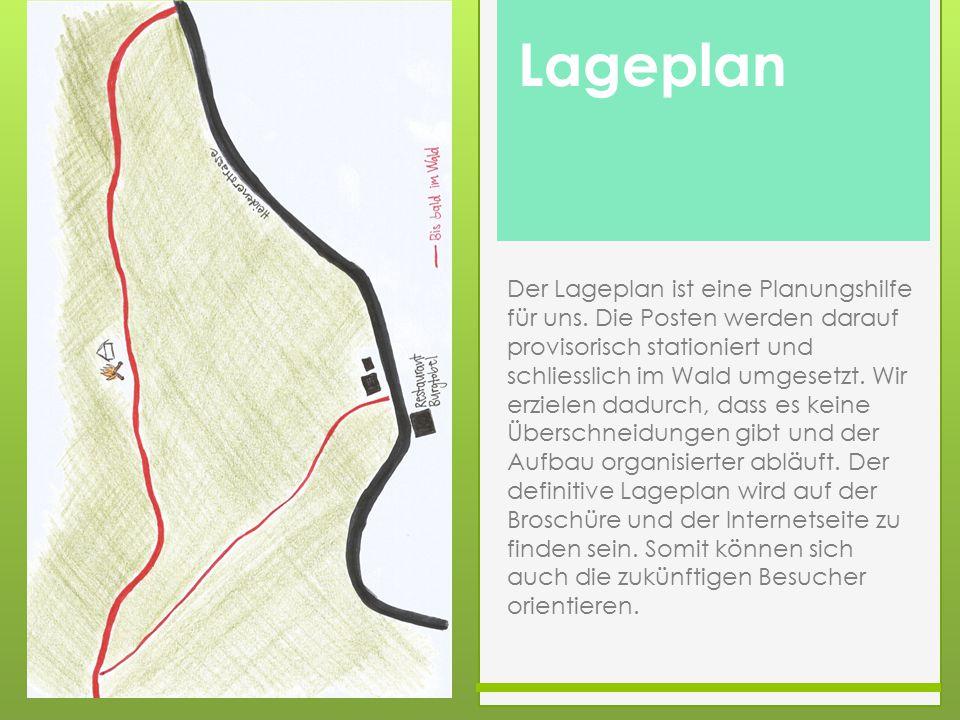 Waldwissen Der Lageplan ist eine Planungshilfe für uns. Die Posten werden darauf provisorisch stationiert und schliesslich im Wald umgesetzt. Wir erzi