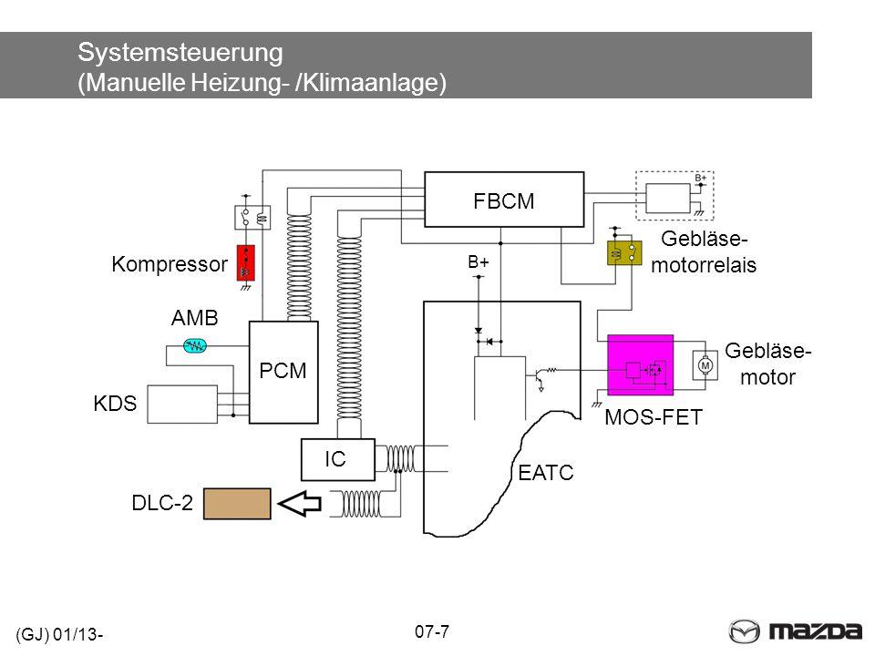 Systemsteuerung (Manuelle Heizung- /Klimaanlage) (GJ) 01/13- 07-7 DLC-2 IC PCM KDS AMB Kompressor Gebläse- motorrelais FBCM EATC B+ Gebläse- motor MOS-FET