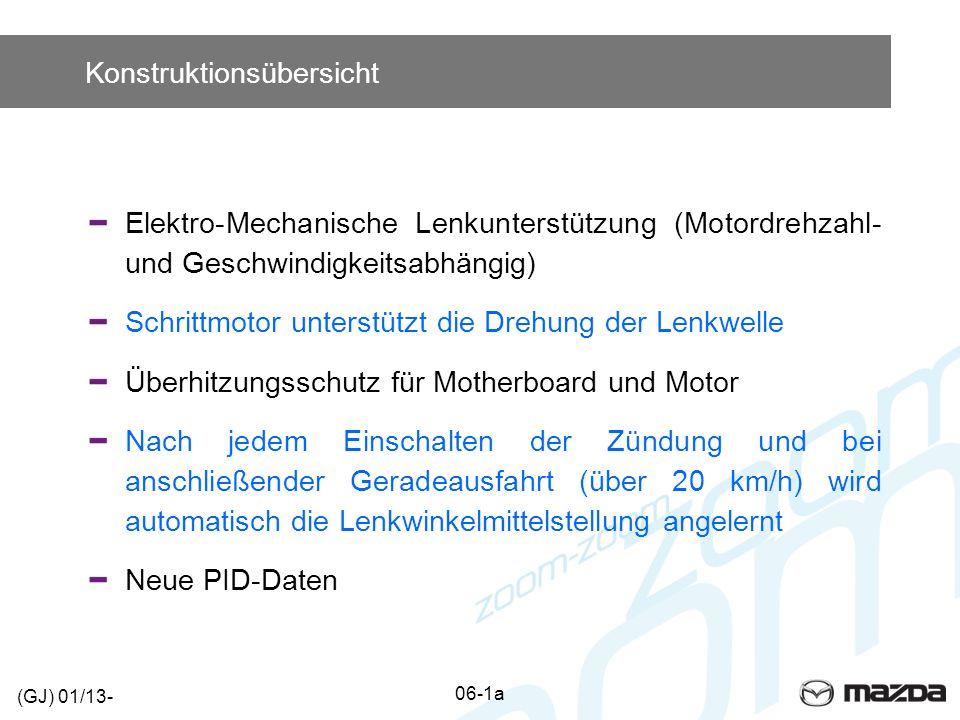 Konstruktionsübersicht Elektro-Mechanische Lenkunterstützung (Motordrehzahl- und Geschwindigkeitsabhängig) Schrittmotor unterstützt die Drehung der Lenkwelle Überhitzungsschutz für Motherboard und Motor Nach jedem Einschalten der Zündung und bei anschließender Geradeausfahrt (über 20 km/h) wird automatisch die Lenkwinkelmittelstellung angelernt Neue PID-Daten 06-1a (GJ) 01/13-