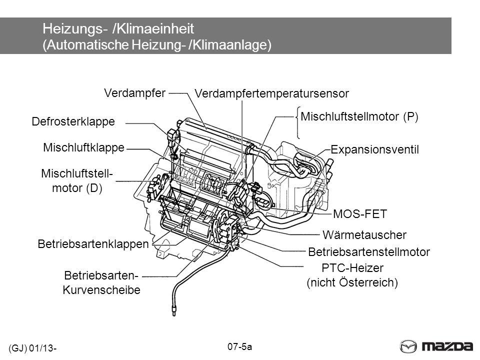 Heizungs- /Klimaeinheit (Automatische Heizung- /Klimaanlage) (GJ) 01/13- 07-5a Expansionsventil Verdampfertemperatursensor Mischluftstellmotor (P) Ver