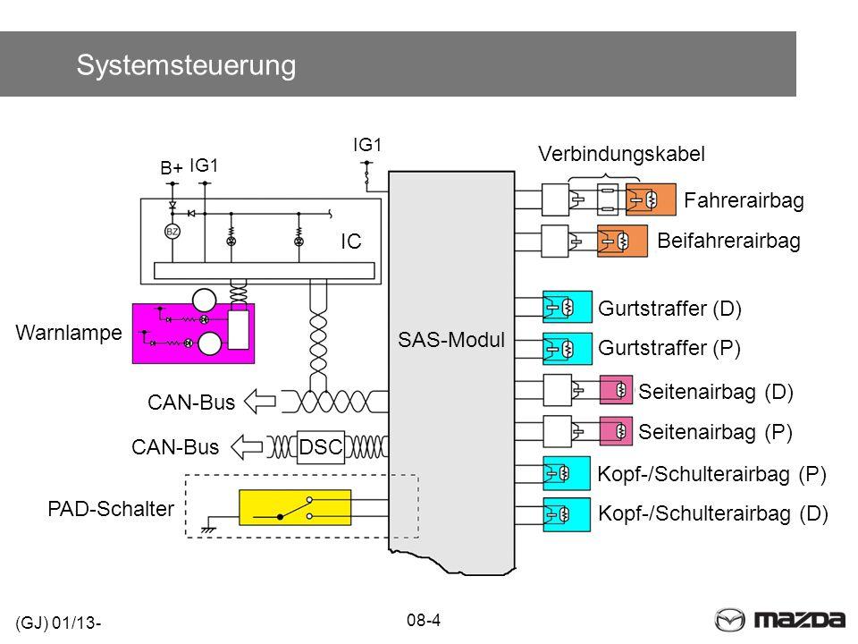 Systemsteuerung 08-4 (GJ) 01/13- PAD-Schalter DSCCAN-Bus IC B+ IG1 Warnlampe SAS-Modul Seitenairbag (D) Beifahrerairbag Verbindungskabel Seitenairbag