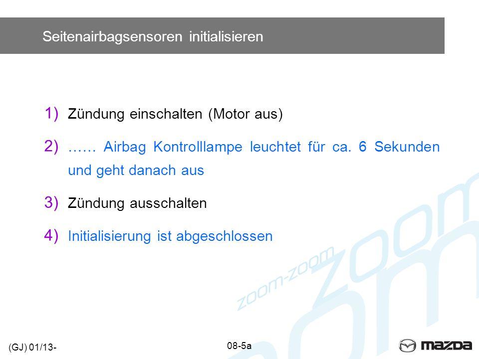 Seitenairbagsensoren initialisieren 1) Zündung einschalten (Motor aus) 2) …… Airbag Kontrolllampe leuchtet für ca. 6 Sekunden und geht danach aus 3) Z