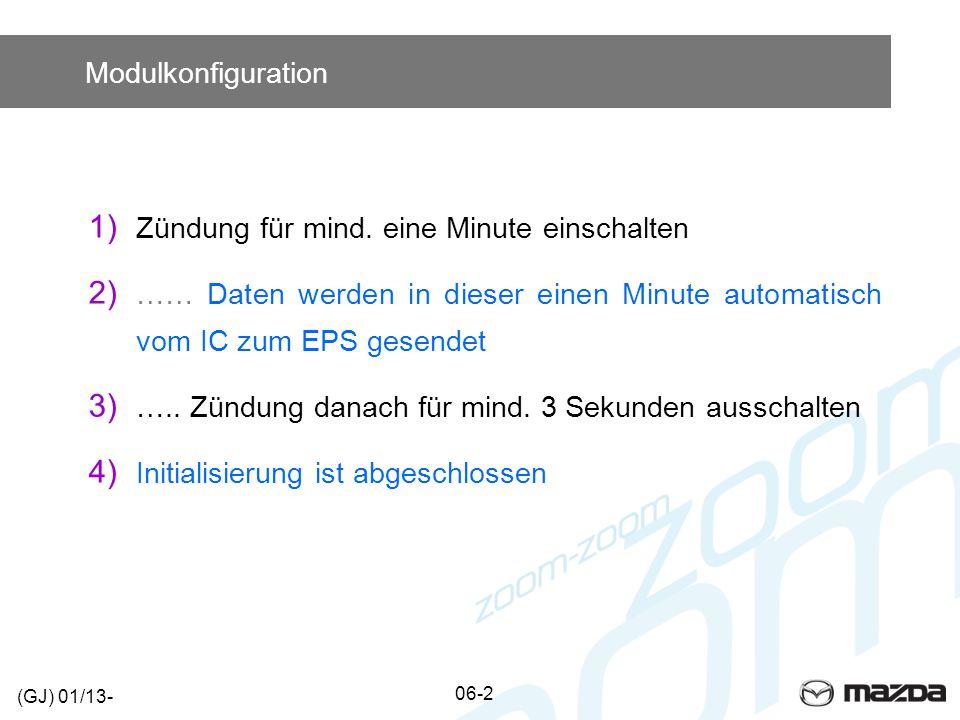 Modulkonfiguration 1) Zündung für mind. eine Minute einschalten 2) …… Daten werden in dieser einen Minute automatisch vom IC zum EPS gesendet 3) ….. Z