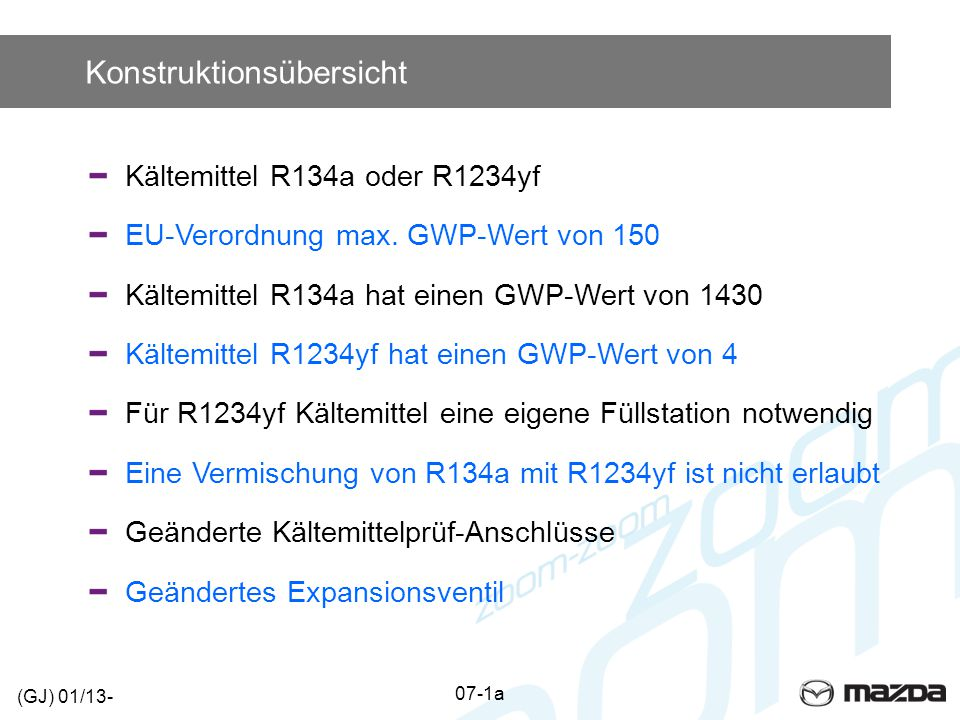 Konstruktionsübersicht Kältemittel R134a oder R1234yf EU-Verordnung max. GWP-Wert von 150 Kältemittel R134a hat einen GWP-Wert von 1430 Kältemittel R1