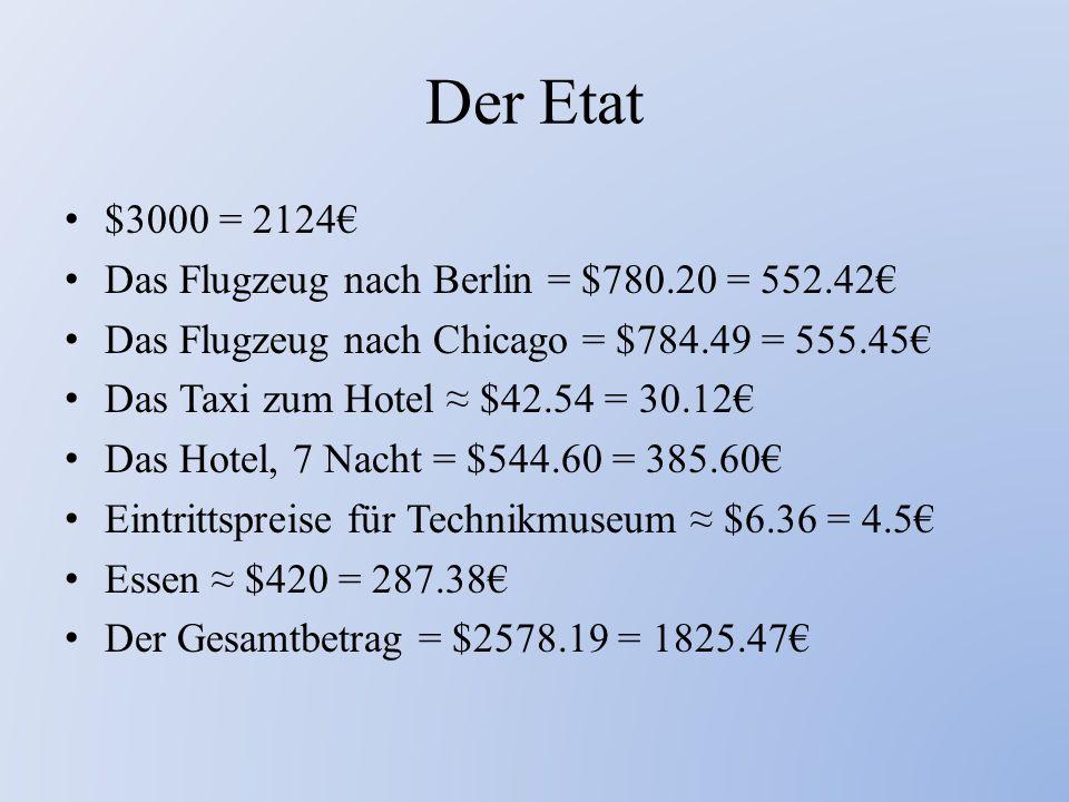 Der Etat $3000 = 2124€ Das Flugzeug nach Berlin = $780.20 = 552.42€ Das Flugzeug nach Chicago = $784.49 = 555.45€ Das Taxi zum Hotel ≈ $42.54 = 30.12€