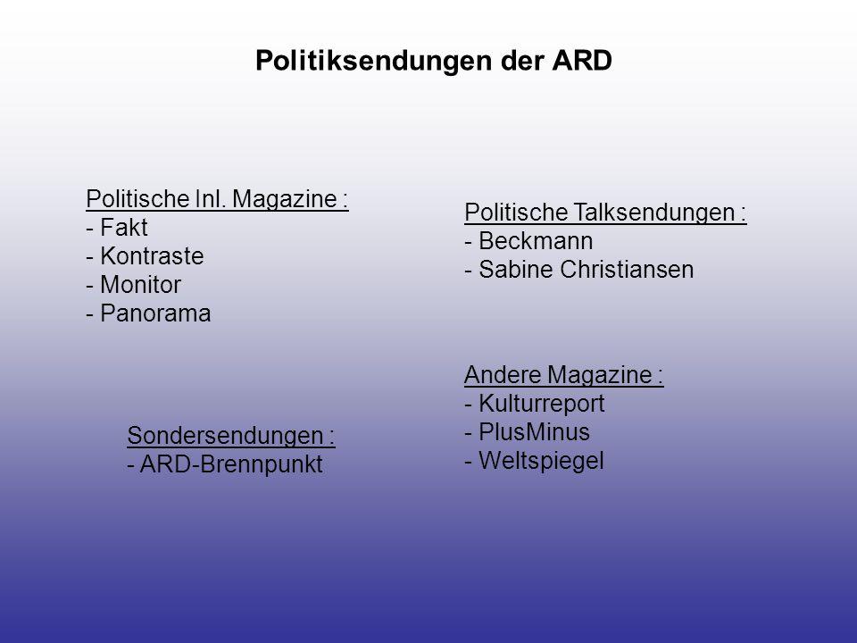 Politiksendungen im ZDF Inlandsmagazine : - Berlin direkt - Frontal - Kennzeichen D Andere Magazine : - Aspekte - Wiso - Mona Lisa Dokumentationen/Berichte/Reportagen : - 37Grad - Die ZDF Dokumentation - ZDF Spezial Talksendungen : - Berlin Mitte - Johannes B.