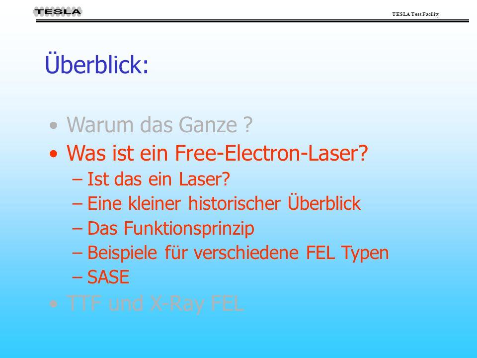 TESLA Test Facility Überblick: Warum das Ganze ? Was ist ein Free-Electron-Laser? –Ist das ein Laser? –Eine kleiner historischer Überblick –Das Funkti