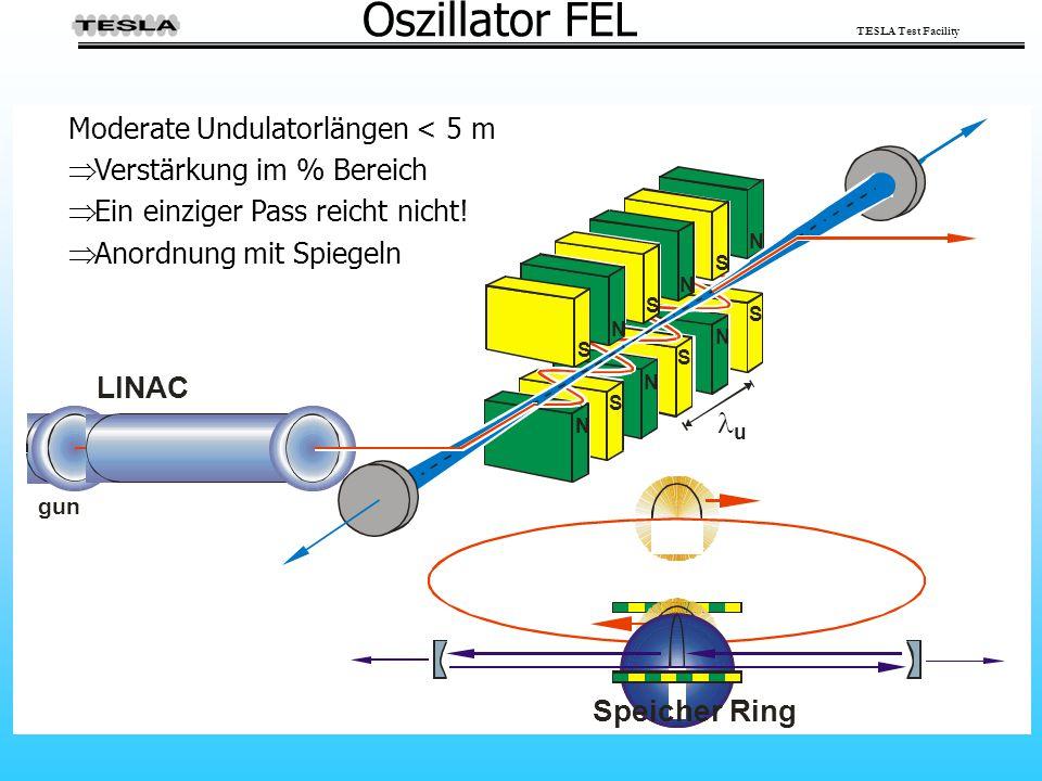 TESLA Test Facility Oszillator FEL Speicher Ring Moderate Undulatorlängen < 5 m  Verstärkung im % Bereich  Ein einziger Pass reicht nicht!  Anordnu