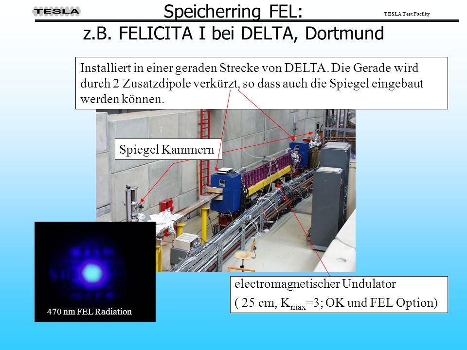 TESLA Test Facility Speicherring FEL: z.B. FELICITA I bei DELTA, Dortmund Spiegel Kammern Installiert in einer geraden Strecke von DELTA. Die Gerade w