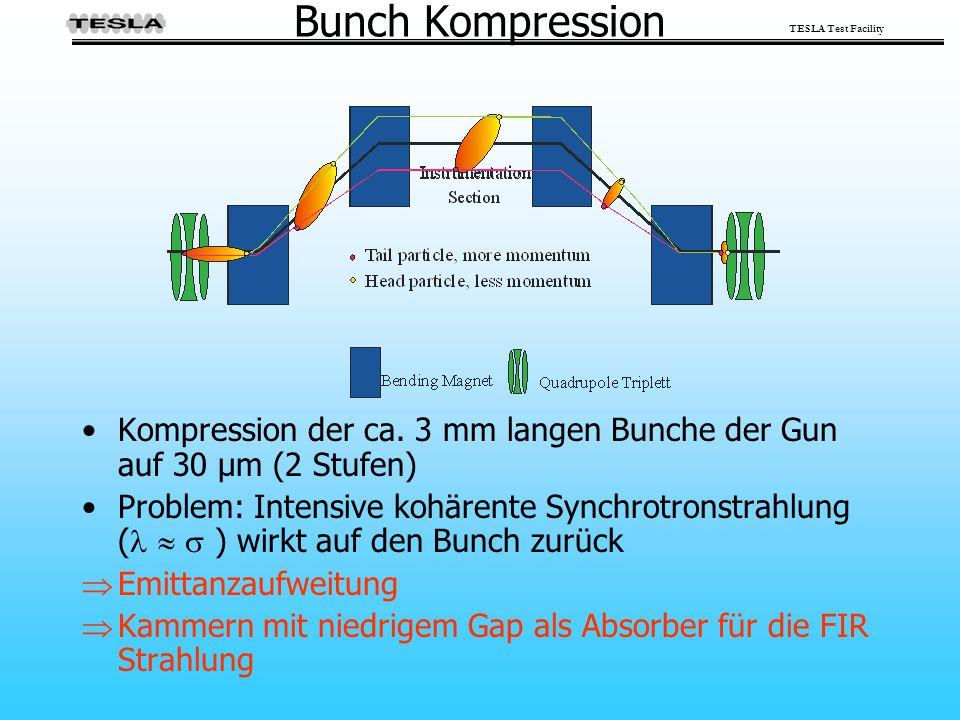 TESLA Test Facility Bunch Kompression Kompression der ca. 3 mm langen Bunche der Gun auf 30 µm (2 Stufen) Problem: Intensive kohärente Synchrotronstra