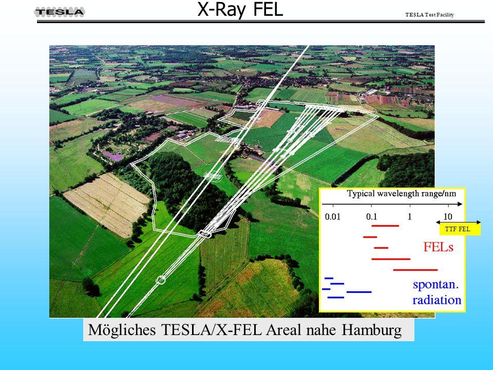 TESLA Test Facility X-Ray FEL Mögliches TESLA/X-FEL Areal nahe Hamburg TTF FEL