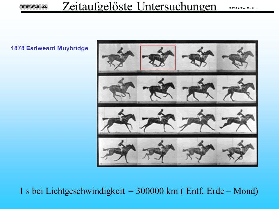 TESLA Test Facility Zeitaufgelöste Untersuchungen 1878 Eadweard Muybridge 1 s bei Lichtgeschwindigkeit = 300000 km ( Entf. Erde – Mond)