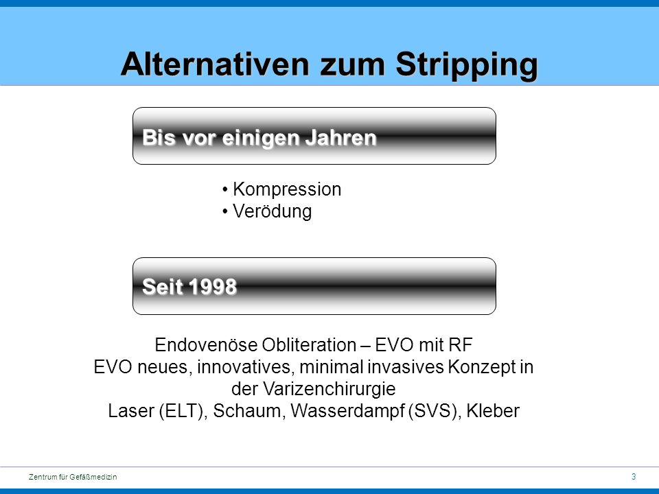 3 Zentrum für Gefäßmedizin Alternativen zum Stripping Bis vor einigen Jahren Kompression Verödung Seit 1998 Endovenöse Obliteration – EVO mit RF EVO neues, innovatives, minimal invasives Konzept in der Varizenchirurgie Laser (ELT), Schaum, Wasserdampf (SVS), Kleber