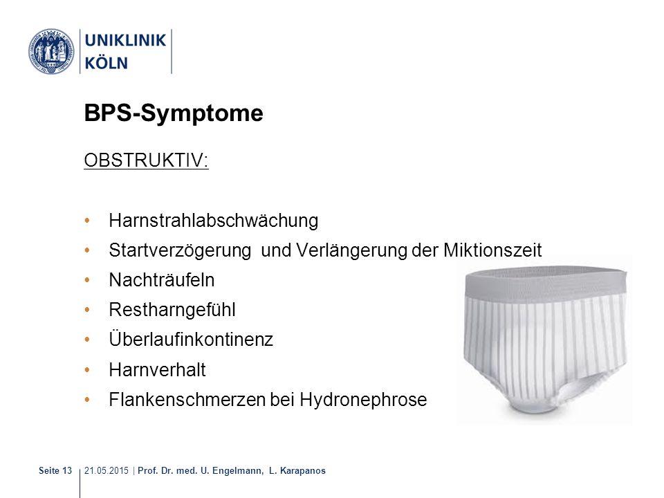 21.05.2015 | Prof. Dr. med. U. Engelmann, L. Karapanos Seite 13 BPS-Symptome OBSTRUKTIV: Harnstrahlabschwächung Startverzögerung und Verlängerung der