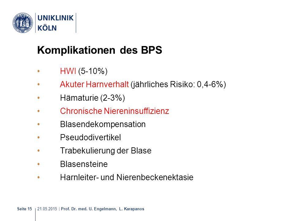 21.05.2015 | Prof. Dr. med. U. Engelmann, L. Karapanos Seite 15 Komplikationen des BPS HWI (5-10%) Akuter Harnverhalt (jährliches Risiko: 0,4-6%) Häma