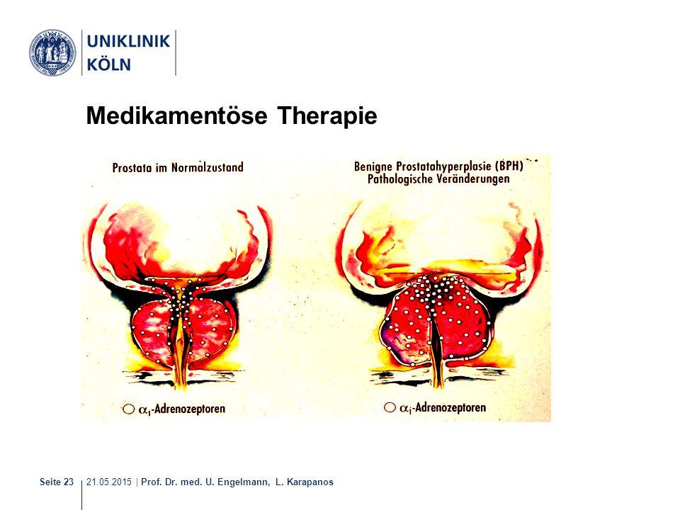 21.05.2015 | Prof. Dr. med. U. Engelmann, L. Karapanos Seite 23 Medikamentöse Therapie alpha-Rezeptoren-Blocker (Tamsulosin)