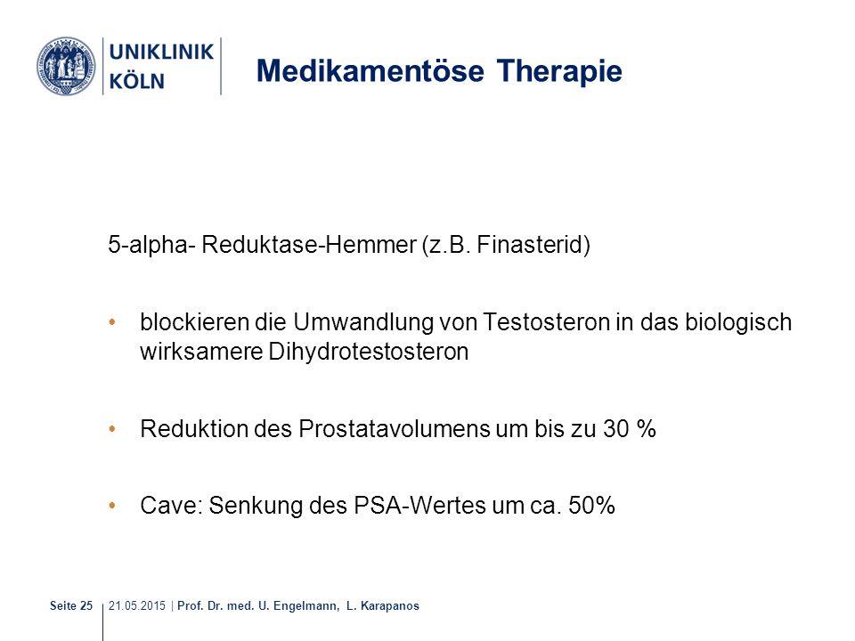 21.05.2015 | Prof. Dr. med. U. Engelmann, L. Karapanos Seite 25 5-alpha- Reduktase-Hemmer (z.B. Finasterid) blockieren die Umwandlung von Testosteron