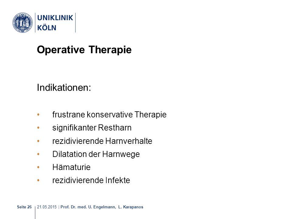 21.05.2015 | Prof. Dr. med. U. Engelmann, L. Karapanos Seite 26 Operative Therapie Indikationen: frustrane konservative Therapie signifikanter Resthar