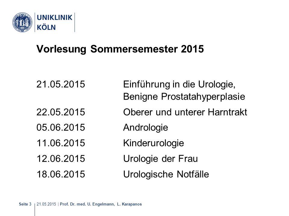21.05.2015 | Prof. Dr. med. U. Engelmann, L. Karapanos Seite 3 Vorlesung Sommersemester 2015 21.05.2015Einführung in die Urologie, Benigne Prostatahyp