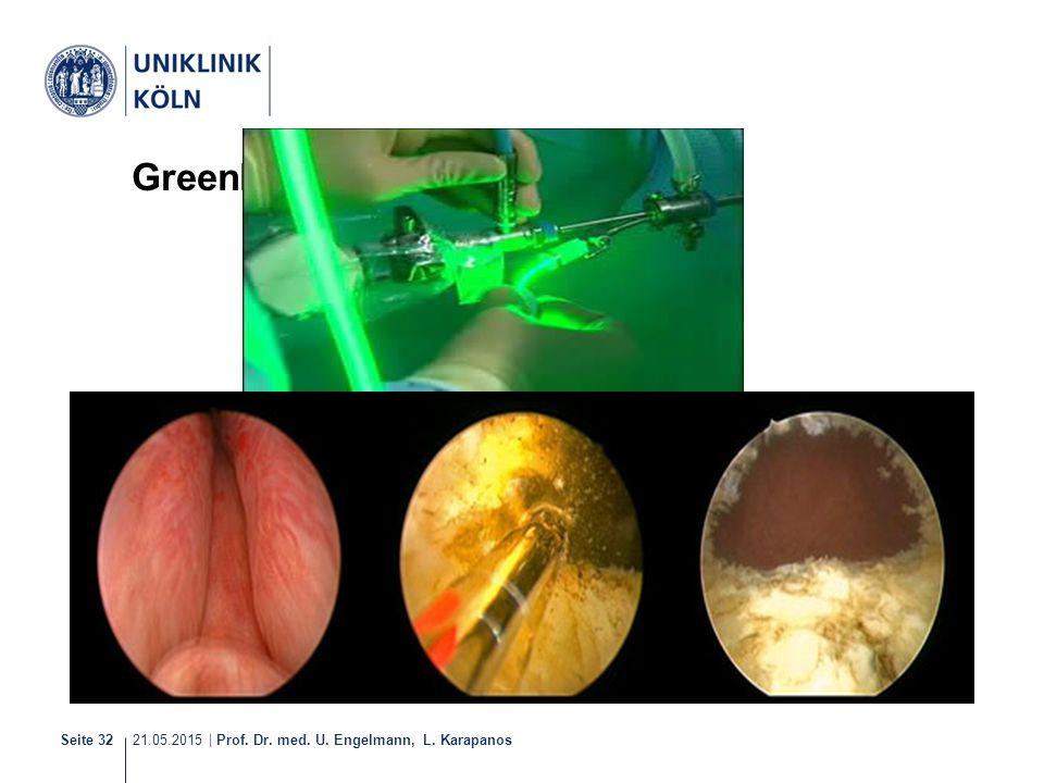 21.05.2015 | Prof. Dr. med. U. Engelmann, L. Karapanos Seite 32 Greenlight-Laser