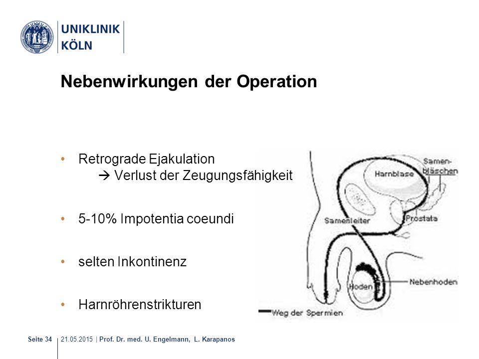 21.05.2015 | Prof. Dr. med. U. Engelmann, L. Karapanos Seite 34 Nebenwirkungen der Operation Retrograde Ejakulation  Verlust der Zeugungsfähigkeit 5-
