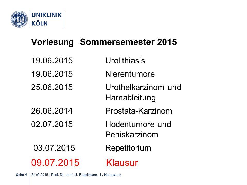 21.05.2015 | Prof. Dr. med. U. Engelmann, L. Karapanos Seite 4 Vorlesung Sommersemester 2015 19.06.2015Urolithiasis 19.06.2015Nierentumore 25.06.2015U