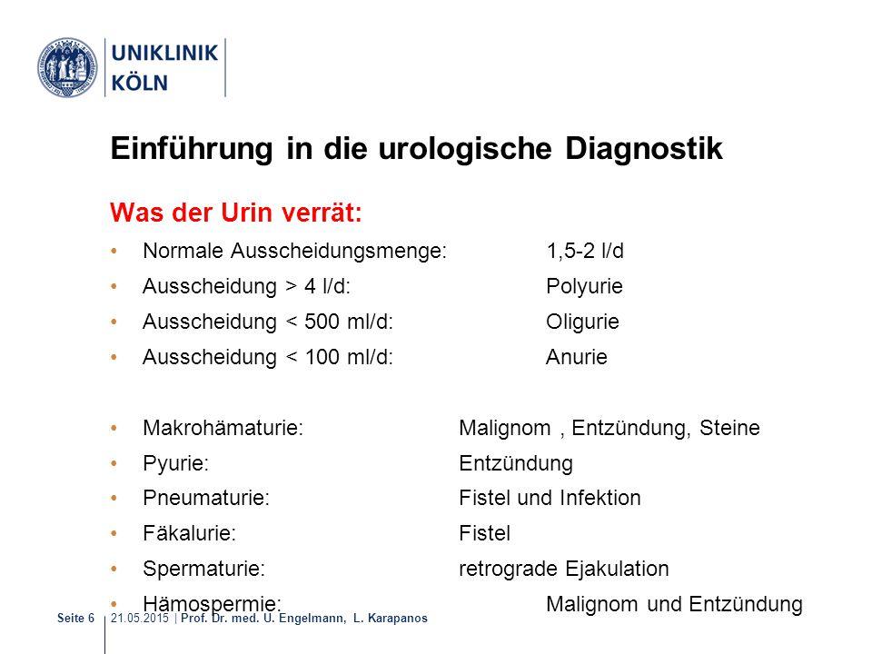 21.05.2015 | Prof. Dr. med. U. Engelmann, L. Karapanos Seite 6 Einführung in die urologische Diagnostik Was der Urin verrät: Normale Ausscheidungsmeng