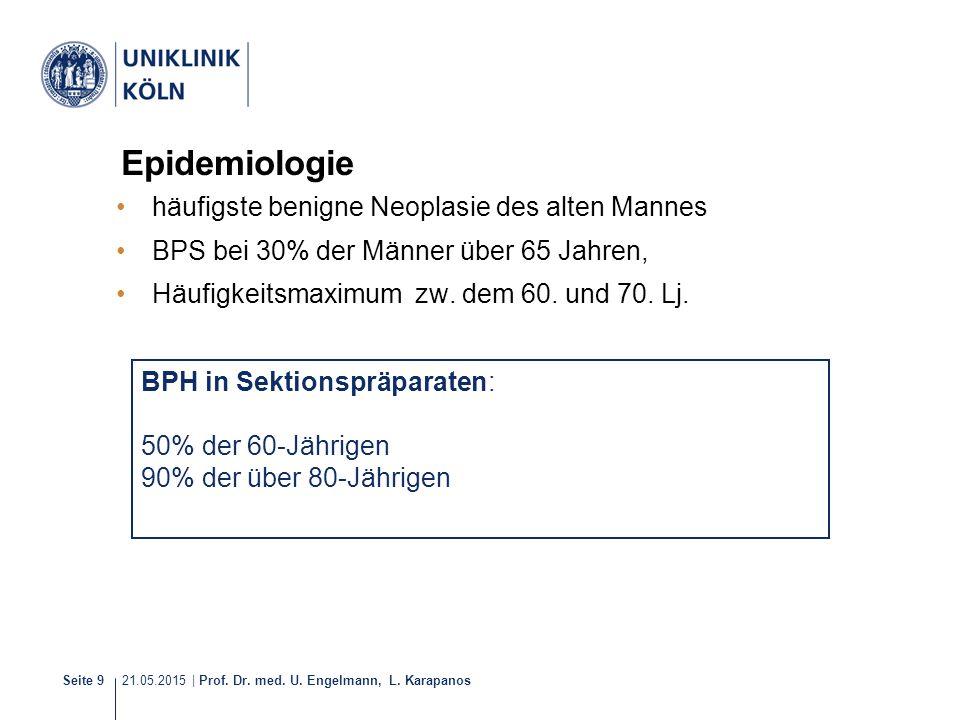 21.05.2015 | Prof. Dr. med. U. Engelmann, L. Karapanos Seite 9 Epidemiologie häufigste benigne Neoplasie des alten Mannes BPS bei 30% der Männer über
