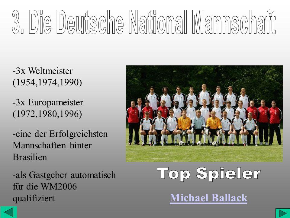 -3x Weltmeister (1954,1974,1990) -3x Europameister (1972,1980,1996) -eine der Erfolgreichsten Mannschaften hinter Brasilien -als Gastgeber automatisch für die WM2006 qualifiziert Michael Ballack
