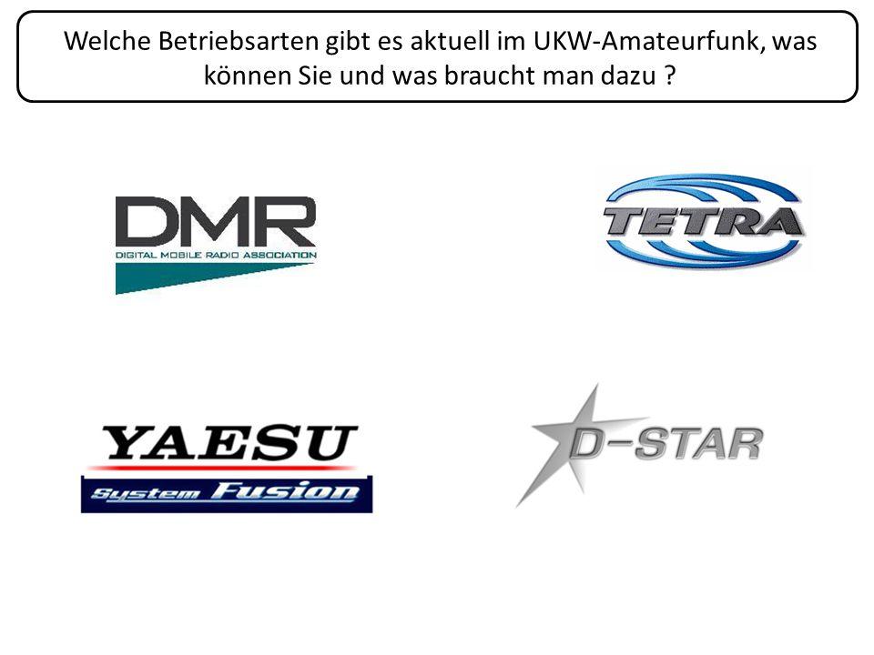 Welche Betriebsarten gibt es aktuell im UKW-Amateurfunk, was können Sie und was braucht man dazu ?