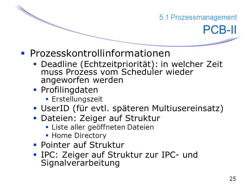 25 5.1 Prozessmanagement PCB-II  Prozesskontrollinformationen  Deadline (Echtzeitpriorität): in welcher Zeit muss Prozess vom Scheduler wieder angeworfen werden  Profilingdaten  Erstellungszeit  UserID (für evtl.