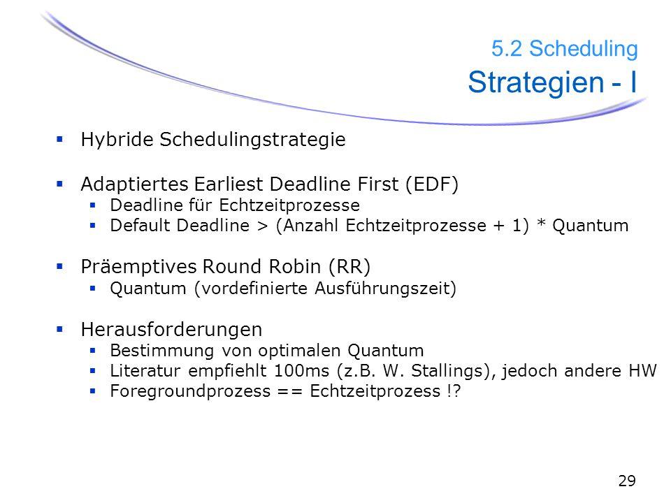 30 5.2 Scheduling Strategien - II  Hybride Schedulingstrategie 1.) EDF: Deadline prüfen 2.) RR: Standard Scheduling Wähle Echtzeitprozess falls eine Deadline < Quantum, setze danach Deadline zurück  sonst weiter mit Standard RR und alle Deadline´s - Quantum Echtzeitprozesse: Vordefinierte Deadline z.B.