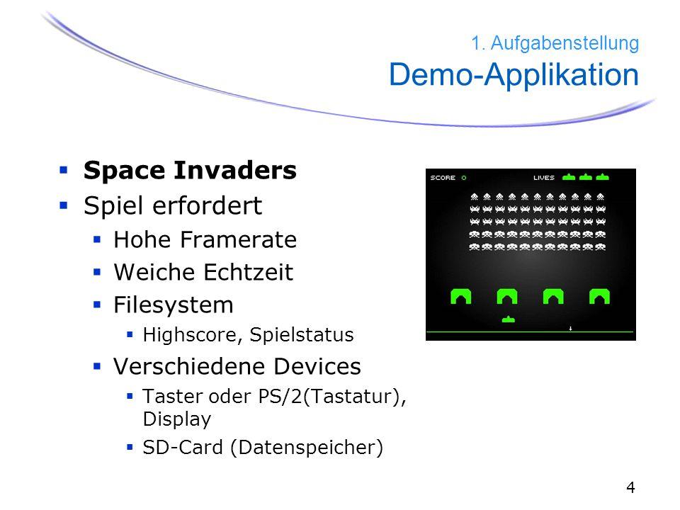 4  Space Invaders  Spiel erfordert  Hohe Framerate  Weiche Echtzeit  Filesystem  Highscore, Spielstatus  Verschiedene Devices  Taster oder PS/2(Tastatur), Display  SD-Card (Datenspeicher) 1.