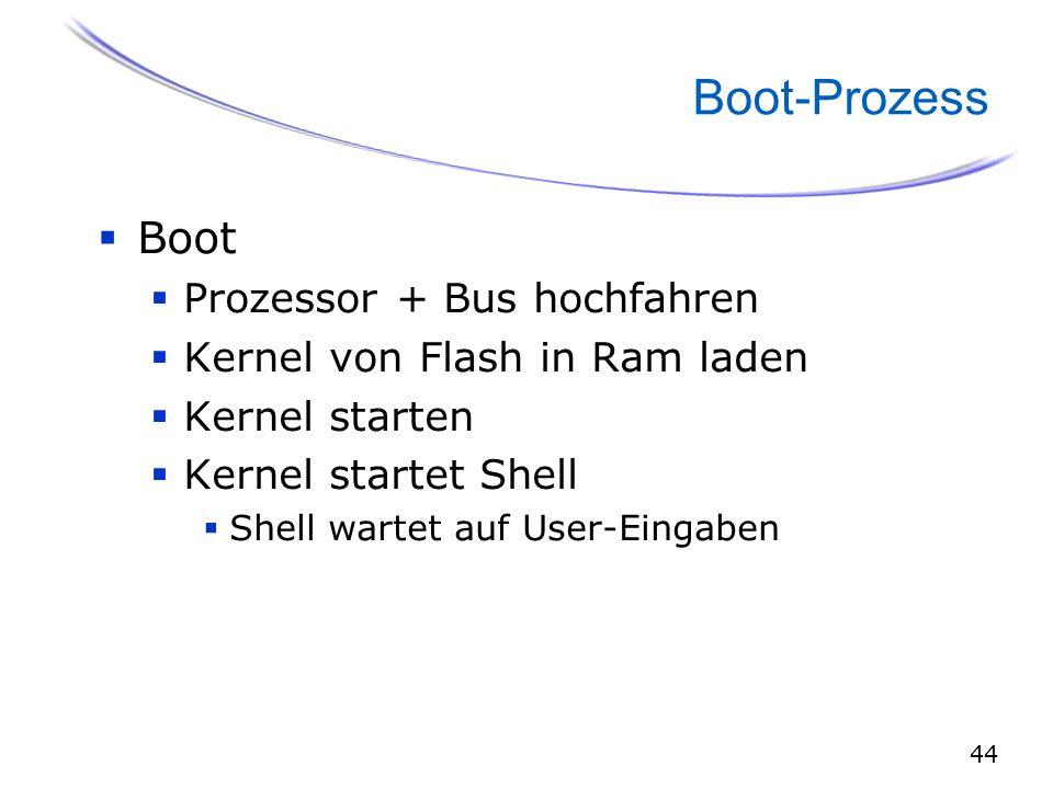 44 Boot-Prozess  Boot  Prozessor + Bus hochfahren  Kernel von Flash in Ram laden  Kernel starten  Kernel startet Shell  Shell wartet auf User-Eingaben