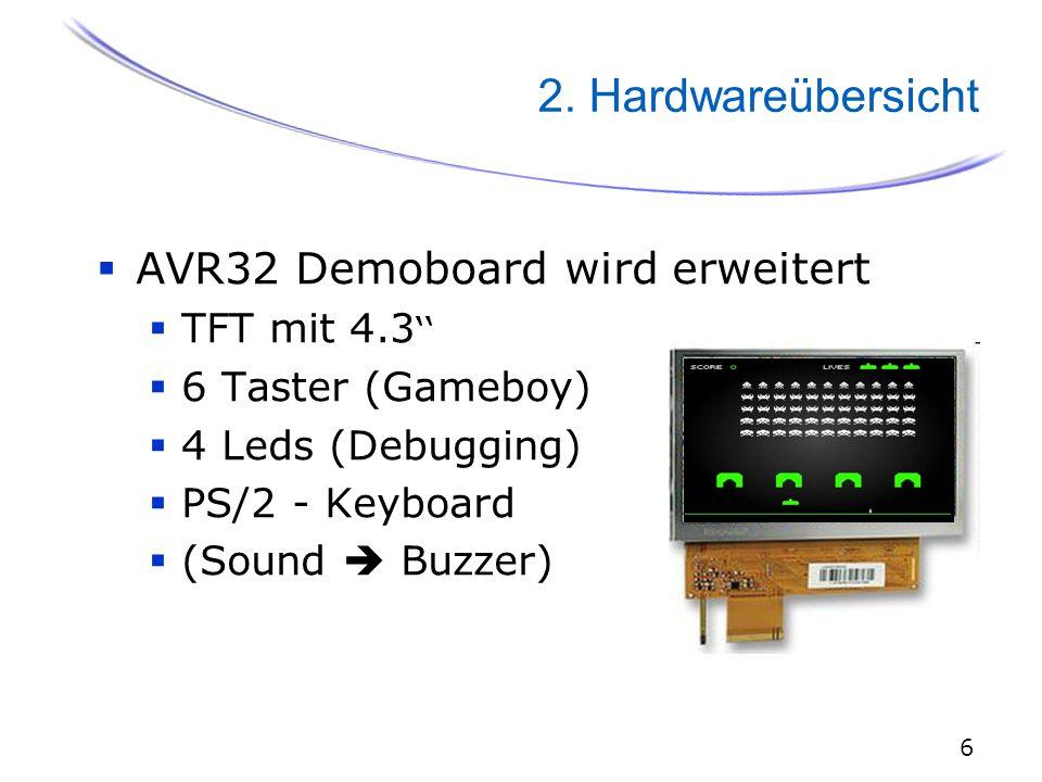 6 2. Hardwareübersicht  AVR32 Demoboard wird erweitert  TFT mit 4.3 ''  6 Taster (Gameboy)  4 Leds (Debugging)  PS/2 - Keyboard  (Sound  Buzzer