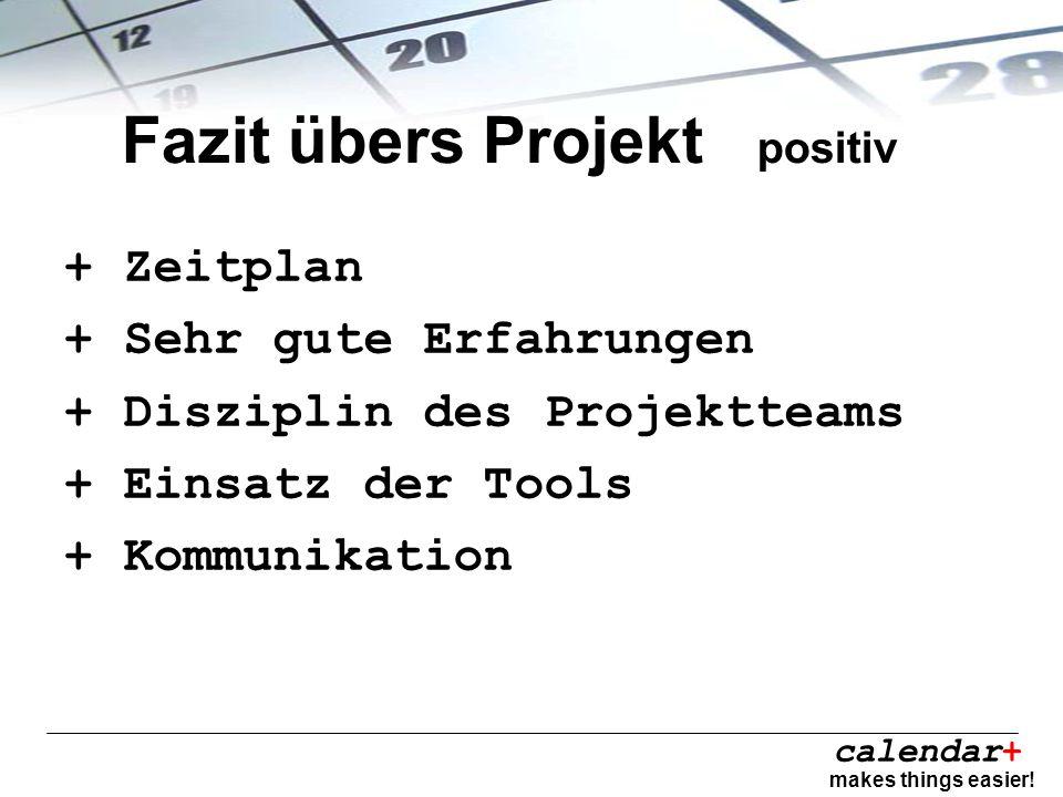 calendar+ makes things easier! Fazit übers Projekt positiv + Zeitplan + Sehr gute Erfahrungen + Disziplin des Projektteams + Einsatz der Tools + Kommu