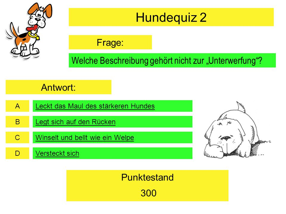 A B C D Punktestand Der Hund hat neben den Fangzähnen, Schneidezähnen und Backenzähne noch… Reisszähne Weisse Zähne 500 Beisszähne Weisheitszähne Hundequiz 2 Frage: Antwort: