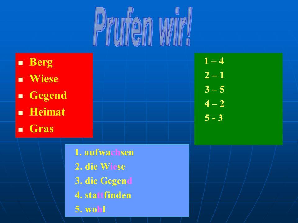 Berg Wiese Gegend Heimat Gras 1 – 4 2 – 1 3 – 5 4 – 2 5 - 3 1.