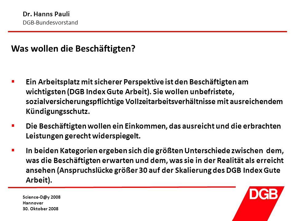 Dr. Hanns Pauli DGB-Bundesvorstand Science-D@y 2008 Hannover 30. Oktober 2008 Was wollen die Beschäftigten?  Ein Arbeitsplatz mit sicherer Perspektiv