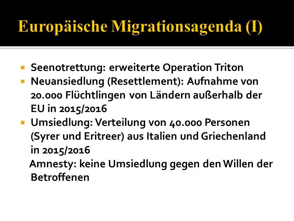  Seenotrettung: erweiterte Operation Triton  Neuansiedlung (Resettlement): Aufnahme von 20.000 Flüchtlingen von Ländern außerhalb der EU in 2015/201