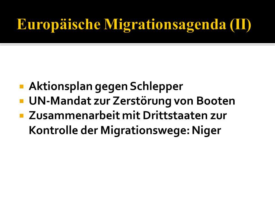  Aktionsplan gegen Schlepper  UN-Mandat zur Zerstörung von Booten  Zusammenarbeit mit Drittstaaten zur Kontrolle der Migrationswege: Niger