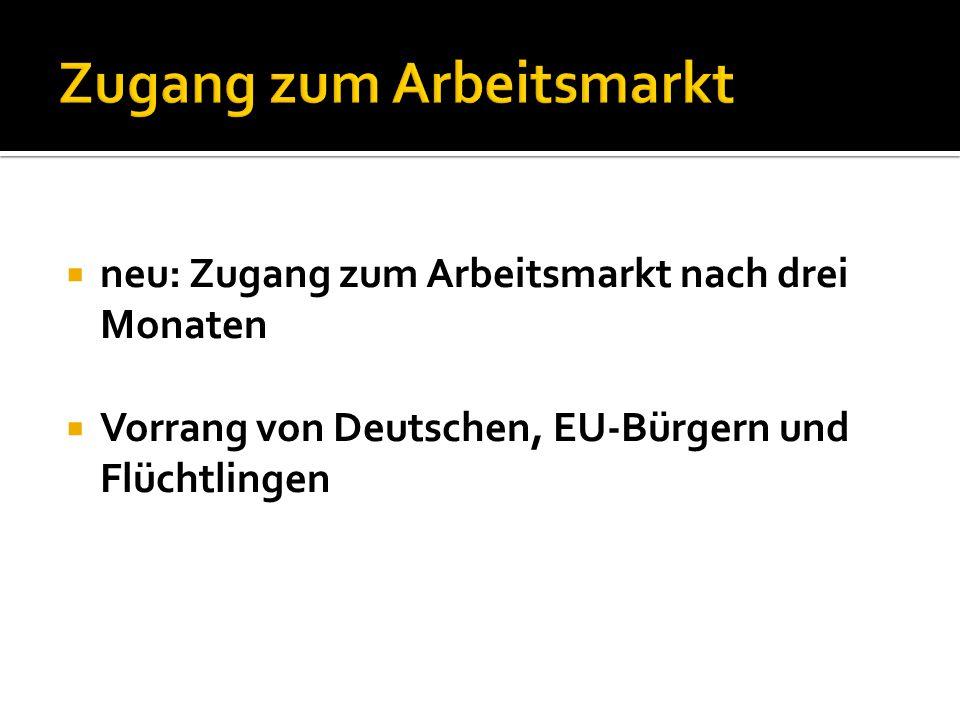  neu: Zugang zum Arbeitsmarkt nach drei Monaten  Vorrang von Deutschen, EU-Bürgern und Flüchtlingen