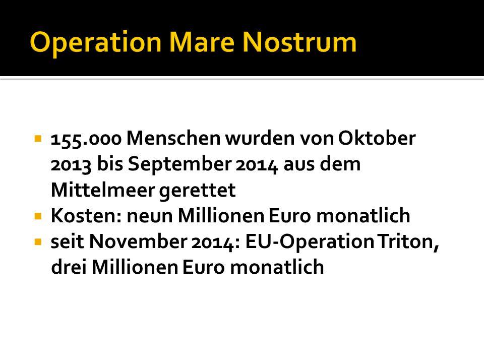  155.000 Menschen wurden von Oktober 2013 bis September 2014 aus dem Mittelmeer gerettet  Kosten: neun Millionen Euro monatlich  seit November 2014