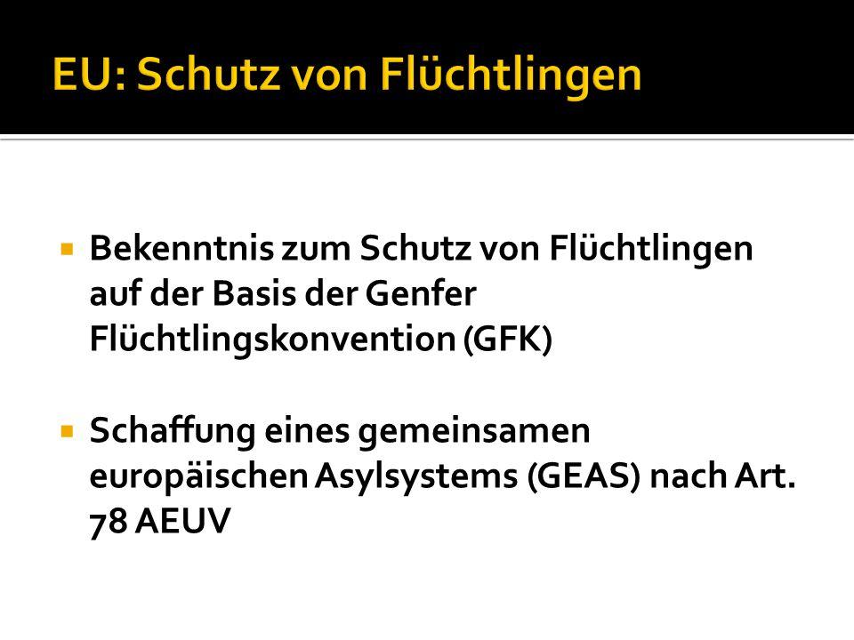  Bekenntnis zum Schutz von Flüchtlingen auf der Basis der Genfer Flüchtlingskonvention (GFK)  Schaffung eines gemeinsamen europäischen Asylsystems (