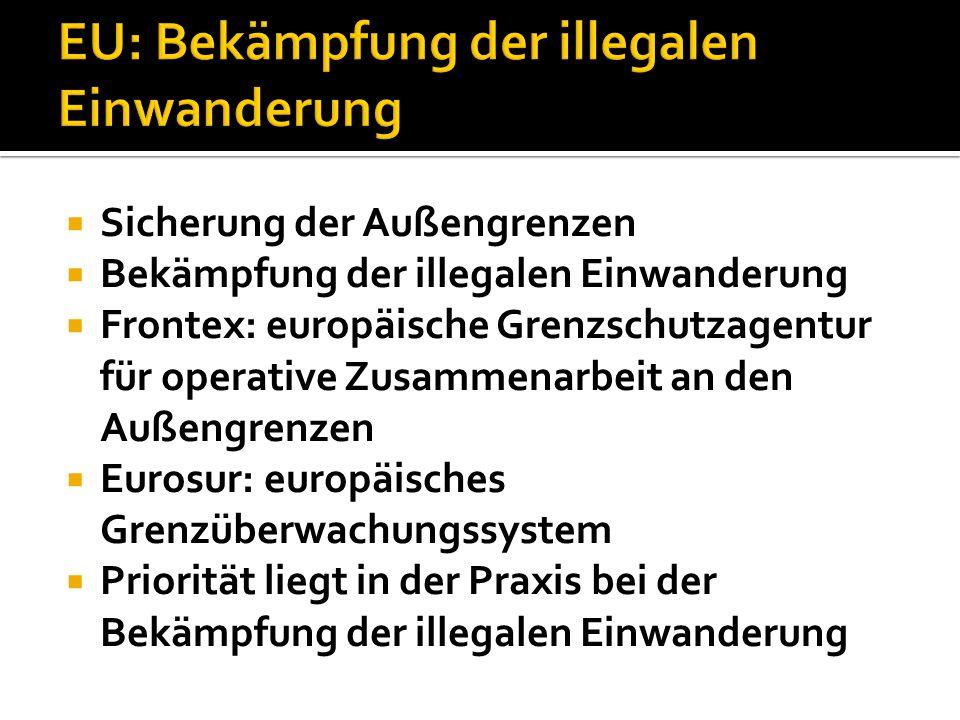  Sicherung der Außengrenzen  Bekämpfung der illegalen Einwanderung  Frontex: europäische Grenzschutzagentur für operative Zusammenarbeit an den Auß