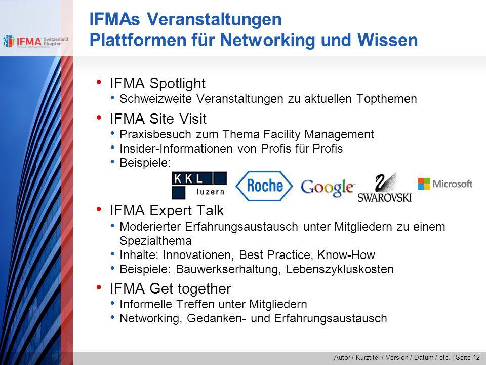 Autor / Kurztitel / Version / Datum / etc.   Seite 12 IFMA Spotlight Schweizweite Veranstaltungen zu aktuellen Topthemen IFMA Site Visit Praxisbesuch
